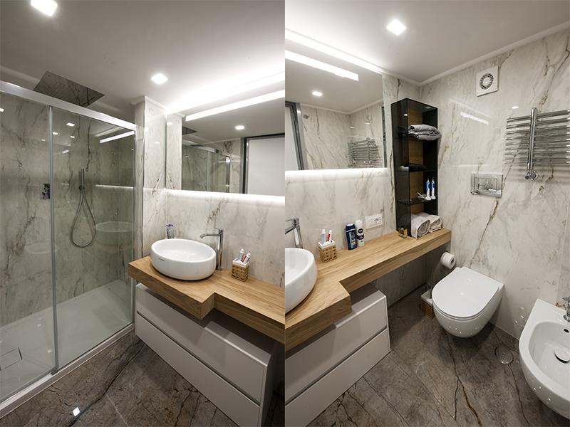 Bagno con doccia e tutti i servizi